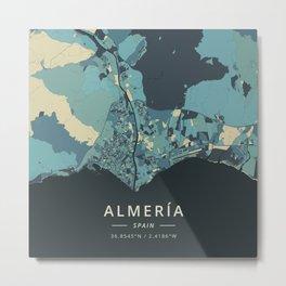 Almeria, Spain - Cream Blue Metal Print