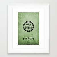 the last airbender Framed Art Prints featuring Avatar Last Airbender Elements - Earth by bdubzgear