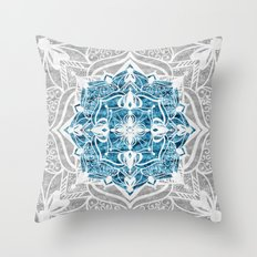 Oriental Nights Ink Blue Throw Pillow