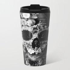 Garden Skull Dark B&W Metal Travel Mug