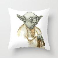yoda Throw Pillows featuring YODA by carotoki art and love