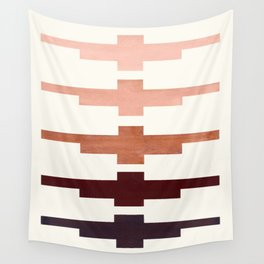 Mid Century Minimalist Ancient Aztec Inca Geometric Pattern Watercolor Raw Umber Colorful Gouache Pa Wall Tapestry