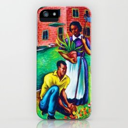 "African American Classical Masterpiece ""The Results of Good Housing"" by Hale Woodruff iPhone Case"
