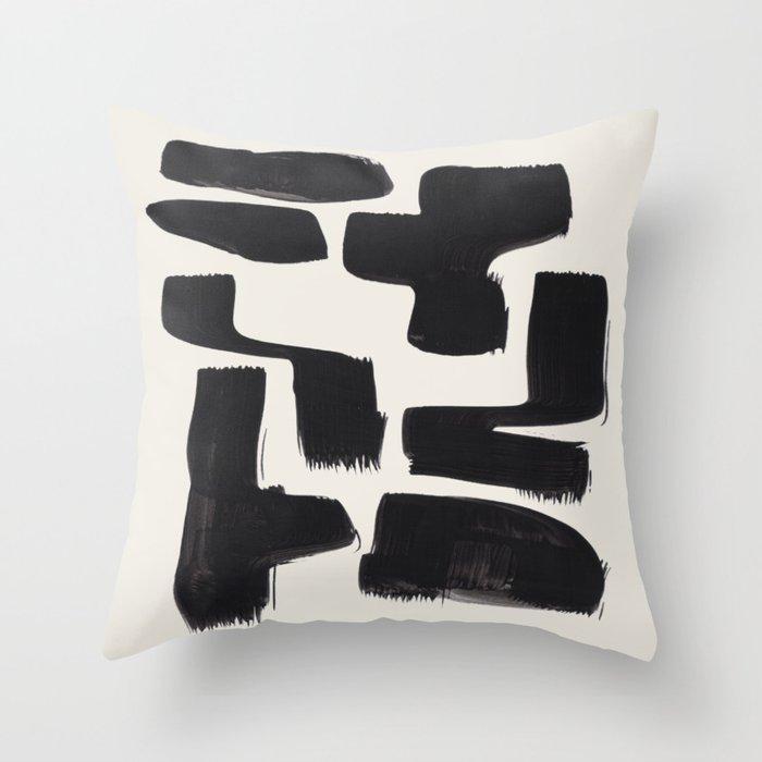 Mid Century Modern Minimalist Abstract Art Brush Strokes Black & White Ink Art Shapes Throw Pillow