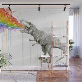 T-Rex Dinosaur Vomits Rainbow Wall Mural