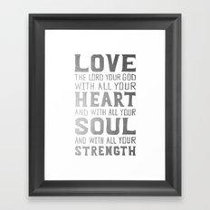 (White/Silver) Heart Soul Strength Framed Art Print