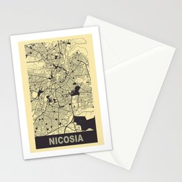 Nicosia, Cyprus, city map, Peach-Yellow Stationery Cards