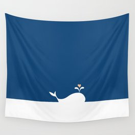 Whale in Blue Ocean with a Love Heart Wall Tapestry