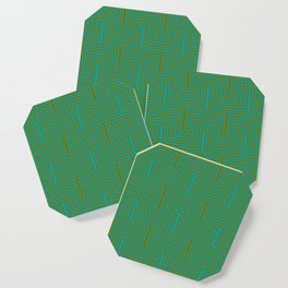 Doors & corners op art pattern in olive green and aqua blue Coaster