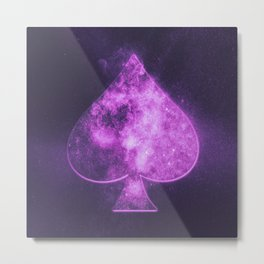 Spade symbol. Playing card. Abstract night sky background Metal Print
