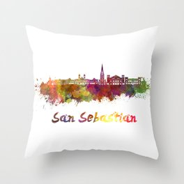 San Sebastian skyline in watercolor  Throw Pillow