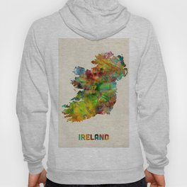 Ireland Eire Watercolor Map Hoody