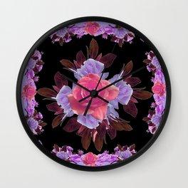 LAVENDER PINK ROSE GARDEN LILAC ROSES FLOWERS Art Wall Clock