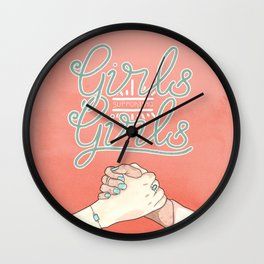 Girls Supporting Girls Intersectional Feminism Wall Clock