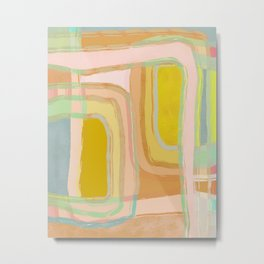 Shapes and Layers no.28 - Modern Squares and Stripes Metal Print