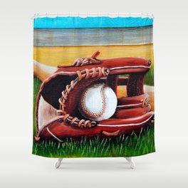 """Baseball"" Fine Art Print,Giclee Boys room,Whimsical Art,Sports room decor, Sports Theme Shower Curtain"