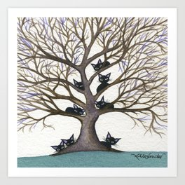 Hackensack Whimsical Cats in Tree Art Print