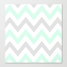 WASHED OUT CHEVRON (MINT & GRAY) Canvas Print