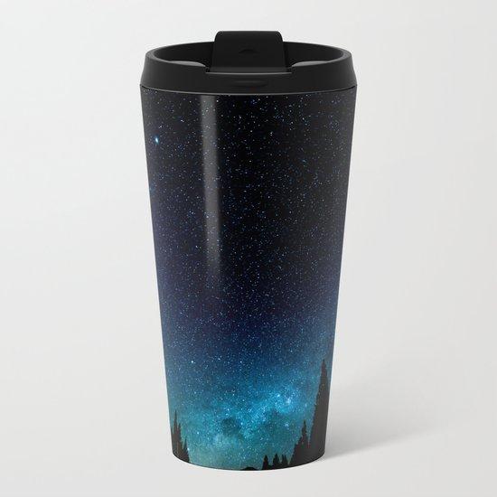 Black Trees Turquoise Milky Way Stars Metal Travel Mug