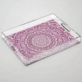 Wine Maroon Ethnic Detailed Textured Mandala Acrylic Tray