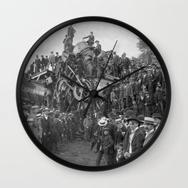 1896 Train Wreck, Buckeye Park in Lancaster, Ohio black and white photography / photograph Wall Clock