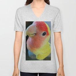 lovebird, yellow & red lovebird, bird, pets, cute, cute bird, yellow lovebird, yellow bird, Unisex V-Neck