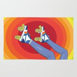 Retro Skating Legs on a Circular Rainbow Background Rug