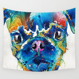 Colorful Pug Art - Smug Pug - By Sharon Cummings Wall Tapestry