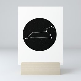 Leo Star Sign Night Sky Circle Mini Art Print