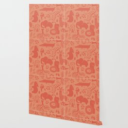 Zoo Animal Patten in Coral Wallpaper
