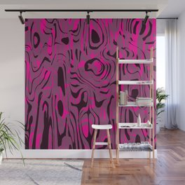 Messy spots and scribbles in pink colors with dark shadow. Wall Mural