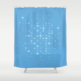 Kingdom Hearts Blue Pattern Shower Curtain