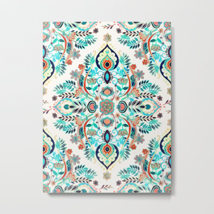 Modern Folk in Jewel Colors Metal Print