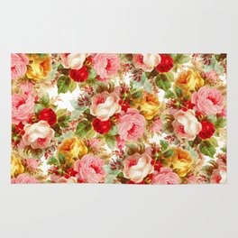 Boho chic pink yellow red roses floral vintage painting Rug