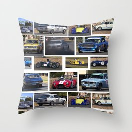 Historic Car Collage Throw Pillow