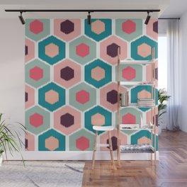 ikat honeycomb Pink #homedecor Wall Mural