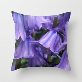With Purple Bells - Spanish Bluebells Cluster Throw Pillow