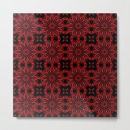 Deep Red Floral Metal Print