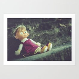 Doll abandoned on the stairs, moody oil painting Art Print
