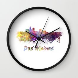 Des Moines skyline in watercolor Wall Clock