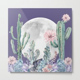 Desert Cactus Full Moon Succulent Garden on Purple Metal Print