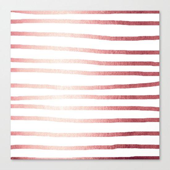 Simply Drawn Stripes Rose Gold Twilight Canvas Print