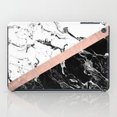 Modern black white marble color block rose gold iPad Case