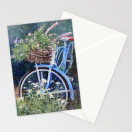 Blue Bicycle Between the Weeds Stationery Cards