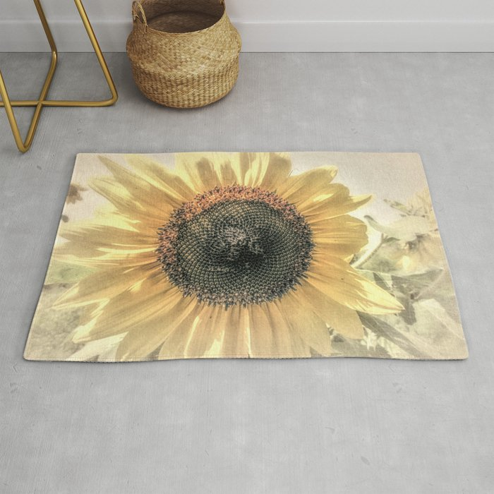 Soft Sunflower Flower Modern Country Home Decor Cottage Art A421a Rug By Nicolphotographicart