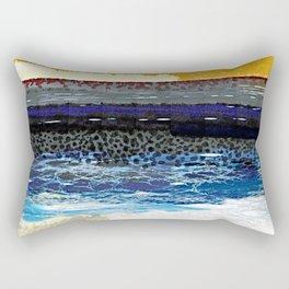 Postmodern Big Wave Sunset Watercolor Ocean Rectangular Pillow