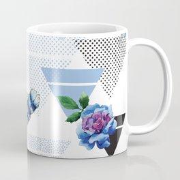 Blue roses geometry Coffee Mug