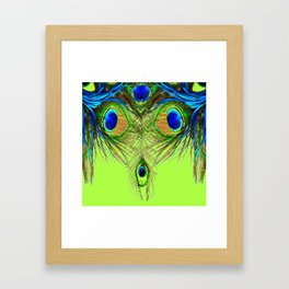 CHARTREUSE BLUE-GREEN PEACOCK FEATHERS ART PATTERNS Framed Art Print
