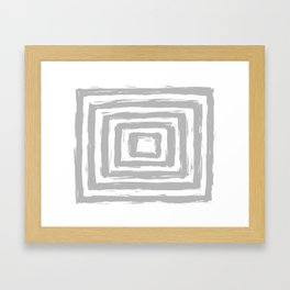 Minimal Light Gray Brush Stroke Square Rectangle Pattern Framed Art Print