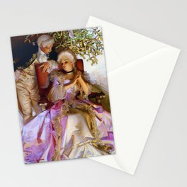 12,000pixel-500dpi - Joseph Christian Leyendecker - Colonial Style Couple Under Mistletoe Stationery Cards